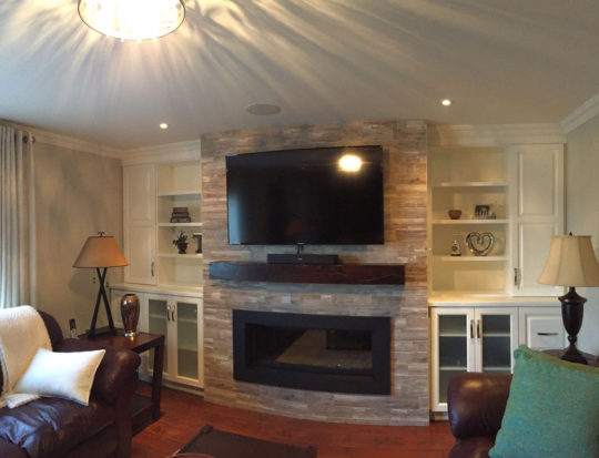 Cloud White built ins with a distressed espresso block mantle